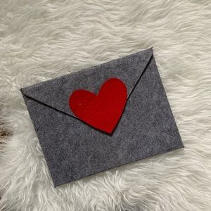 Grey and Red Heart Envelope Style Clutch🌟